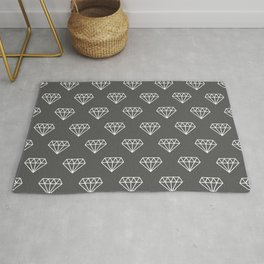 White Hipster Diamond Pattern on Dark Grey background Rug