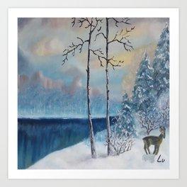 Sunrise at the lake, Beautiful Modern Oil Painting on Canvas, Landscape Art Print