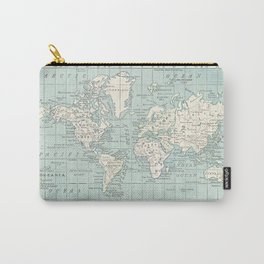 World Map in Blue and Cream Tasche