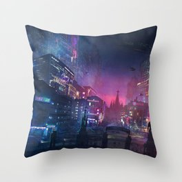 Barcelona Smoke & Neons: Sant Pau i La Sagrada Familia Throw Pillow