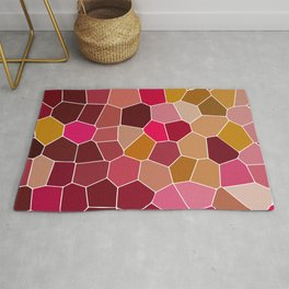 Hexagon Abstract Pink_Olive Rug