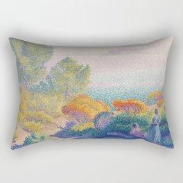 Two Women by the Shore, Mediterranean by Henri-Edmond Cross Rectangular Pillow