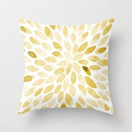 Watercolor brush strokes - yellow Throw Pillow