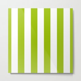 Bright Pistachio Nut Green and White Cabana Stripes Metal Print