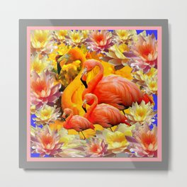 YELLOW & PINK WATER LILIES & SAFFRON FLAMINGOS  ABSTRACT Metal Print