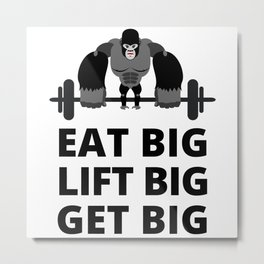 Workout Muscle Motivation Saying Metal Print