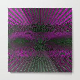Wild Emerald Green Purple Circle 3D Abstract Metal Print