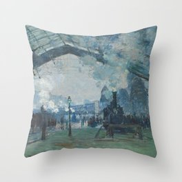 Claude Monet - Arrival of the Normandy Train Throw Pillow