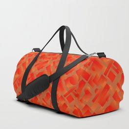 Stylish design with interlaced circles and bronze rectangles of stripes. Duffle Bag