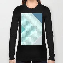 Teal Vibes - Geometric Triangle Stripes Long Sleeve T-shirt