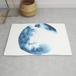 Watercolor Circle Abstract Simple | Blue Blob May 26 Rug