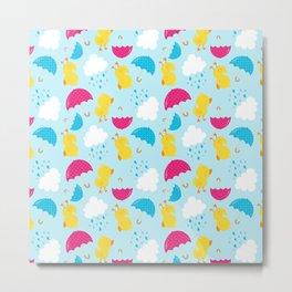Rainy Day Neck Gaiter Yellow Duck Neck Gator Metal Print