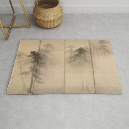 Pine Trees Six-Fold Azuchi-Momoyama Period Japanese Screen - Hasegawa Tohaku Rug