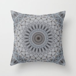 Mandala in silver and grey tones Throw Pillow