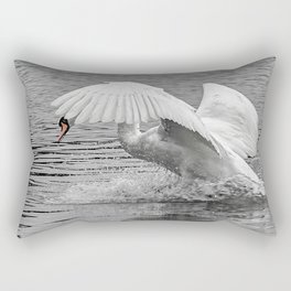 wildlife swan splash landing Rectangular Pillow