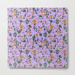 Cute Cactus and Fennec Fox Metal Print