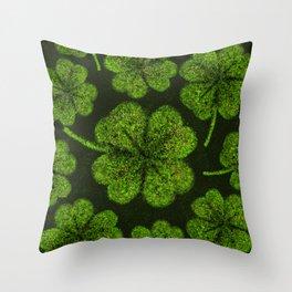 Lucky Shamrock Four-leaf Clover Splatter paint Throw Pillow