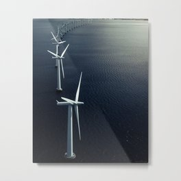 Windmills at sea Metal Print