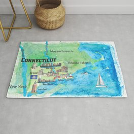 USA Connecticut State Travel Poster Map with Touristic Highlights Rug