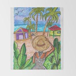 The Split - Caye Caulker - Art and Pizza  Throw Blanket