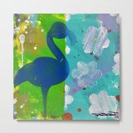 Blue Flamingo in Sunshower Metal Print