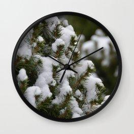 Snowy Cedar Tree Wall Clock