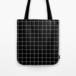 Grid Pattern Line Stripe Black and White Minimalist Geometric Stripes Lines Tote Bag