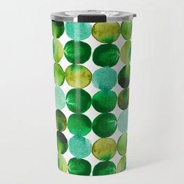 Green Watercolor Circles Pattern Travel Mug