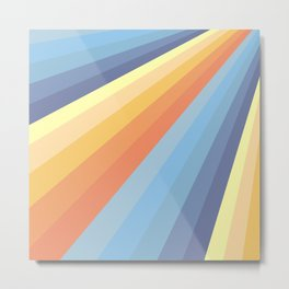 Classic Colorful Abstract Minimal Retro Style Stripe Rays Metal Print