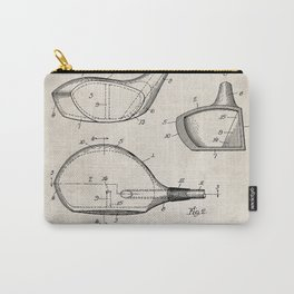 Golf Driver Patent - Golf Art - Antique Carry-All Pouch