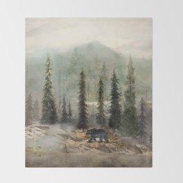 Mountain Black Bear Throw Blanket