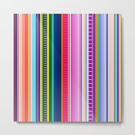 Mexican Serape Inspired Colorful Stripe Summer Fabric Metal Print