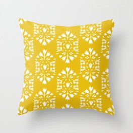 folk art flower pattern yellow Throw Pillow