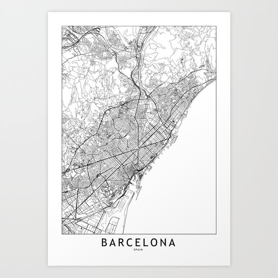 Barcelona White Map by multiplicity