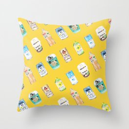 Assorted Drinks Pattern Throw Pillow