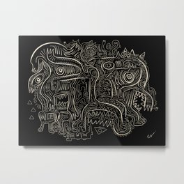 Black and White Graffiti Art Tribal  Metal Print