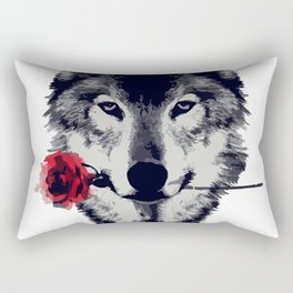 The Wolf With a Rose & Mountains Rectangular Pillow