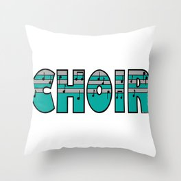 Choir with Turquoise and Silver Music Striped Font Throw Pillow