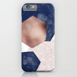 Blush Pink and Indigo Hex III iPhone Case