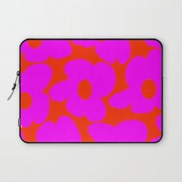 Pink Retro Flowers Orange Red Background #decor #society6 #buyart Laptop Sleeve