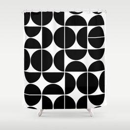 Mid Century Modern Geometric 04 Black Shower Curtain