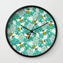Blooms & Bees Wall Clock