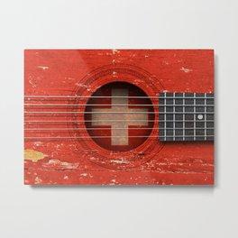 Old Vintage Acoustic Guitar with Swiss Flag Metal Print