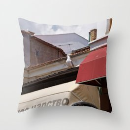 Seagull arrived in the town to say summer is coming Throw Pillow
