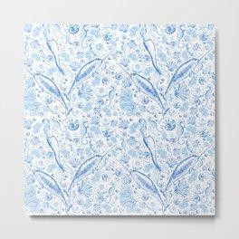 Mermaid Toile - Blue Metal Print