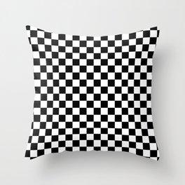 Black Checkerboard Pattern Throw Pillow