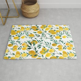 watercoor yellow lemon pattern Rug