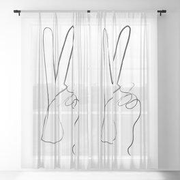 Victory Peace Art Print Sheer Curtain