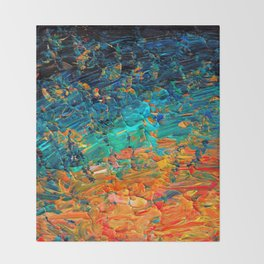 ETERNAL TIDE 2 Rainbow Ombre Ocean Waves Abstract Acrylic Painting Summer Colorful Beach Blue Orange Throw Blanket