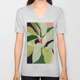 To Plant a Garden is to Believe in Tomorrow, Tropical Modern Bohemian Colorful Pastel Illustration Unisex V-Neck
